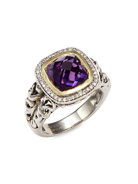 Charles Krypell Sterling Silver, 18K Yellow Gold & 14K White Gold Amethyst & Diamond Ring