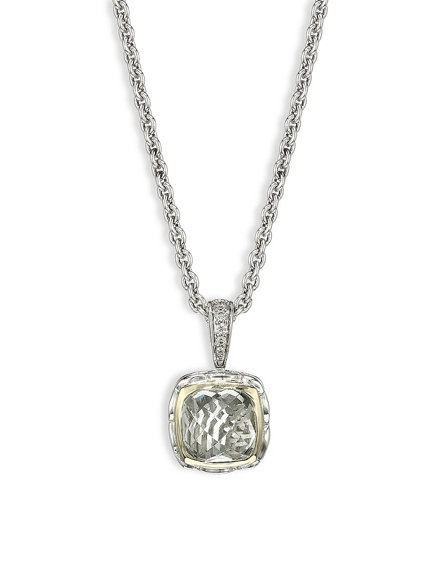 Charles Krypell Sterling Silver, Two-Tone Gold, Green Amethyst & Diamond Pendant Necklace