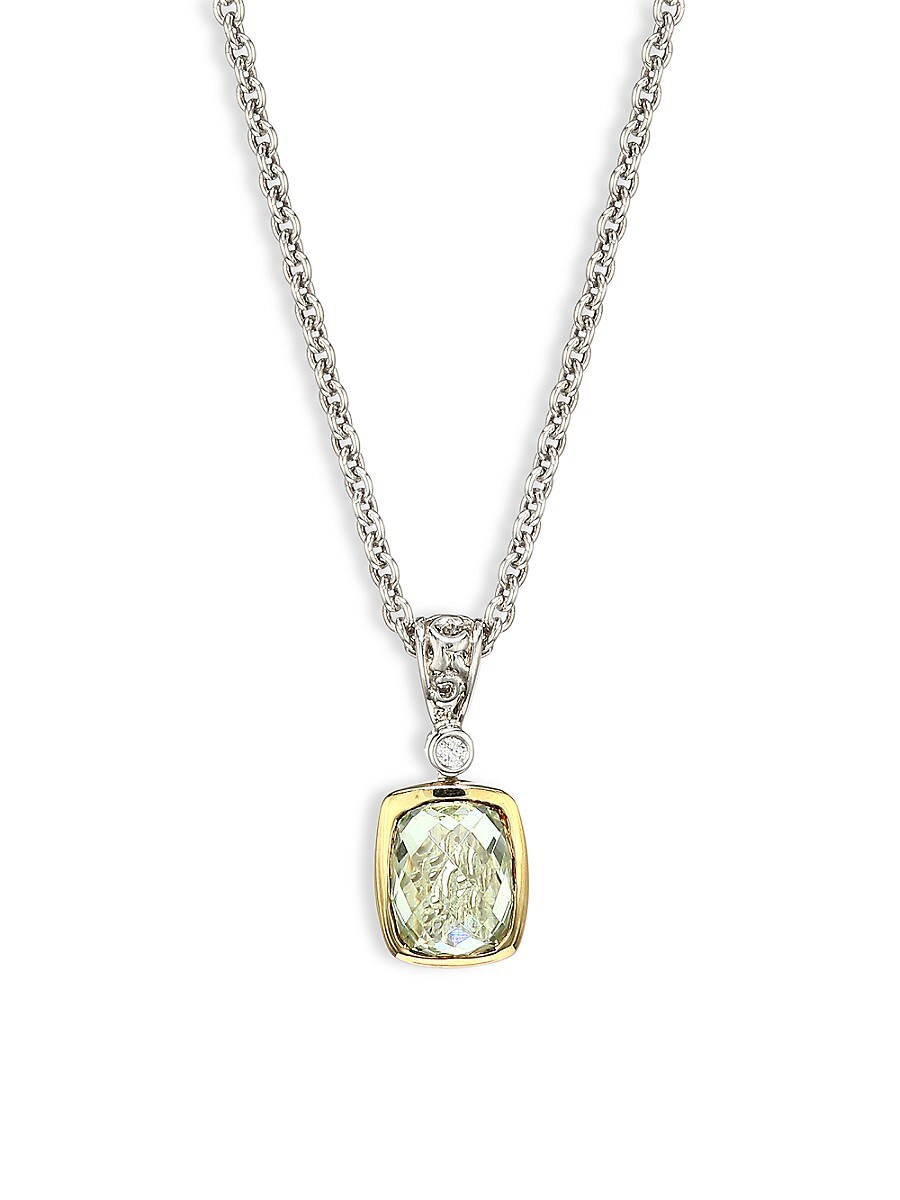 Charles Krypell Women's Sterling Silver, 14K Yellow Gold, Diamond & Green Amethyst Necklace