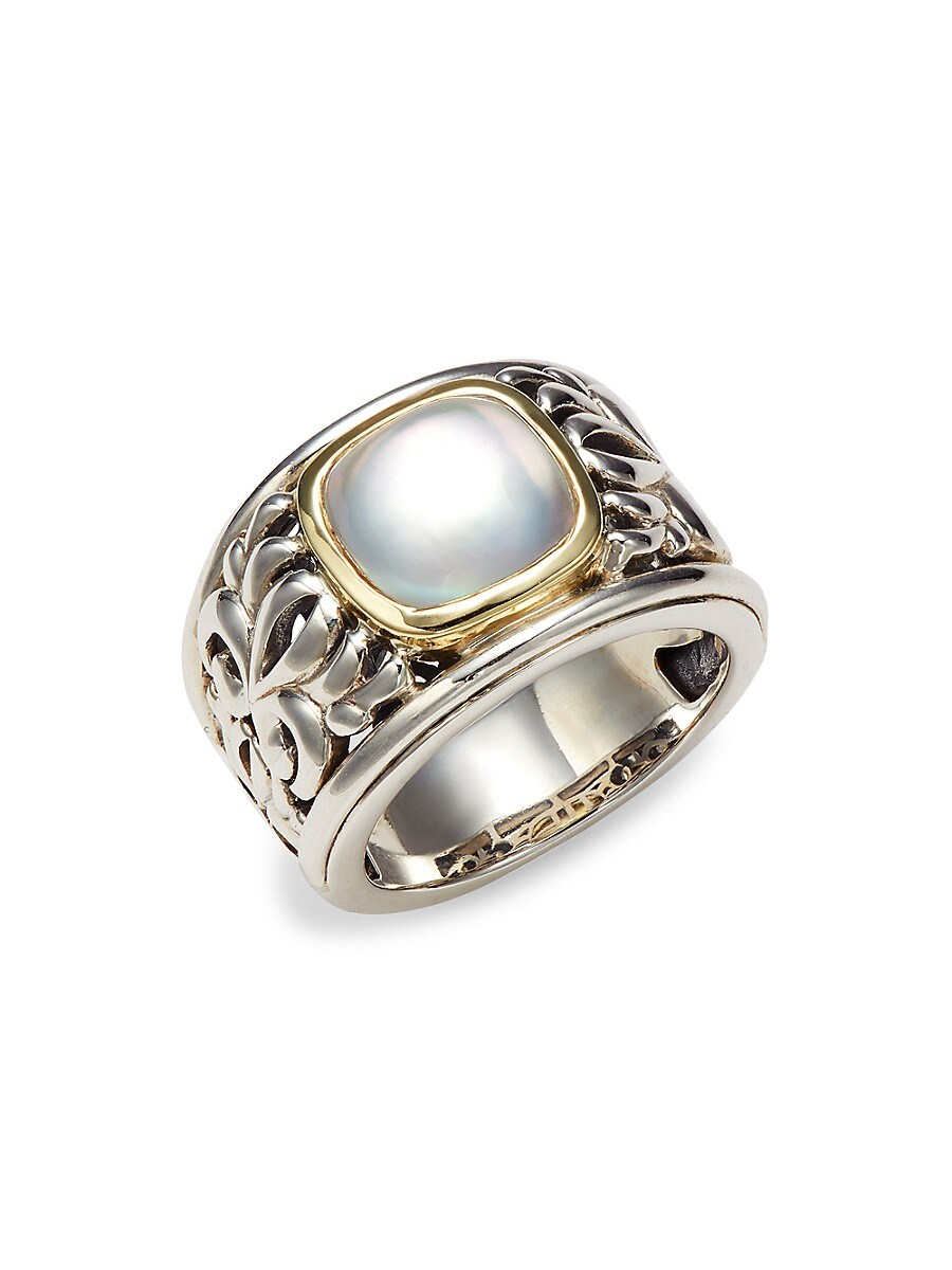 Charles Krypell Women's Sterling Silver, 18K Yellow Gold & Mother-of-Pearl Ring/Size 6.5 - Size 6.5
