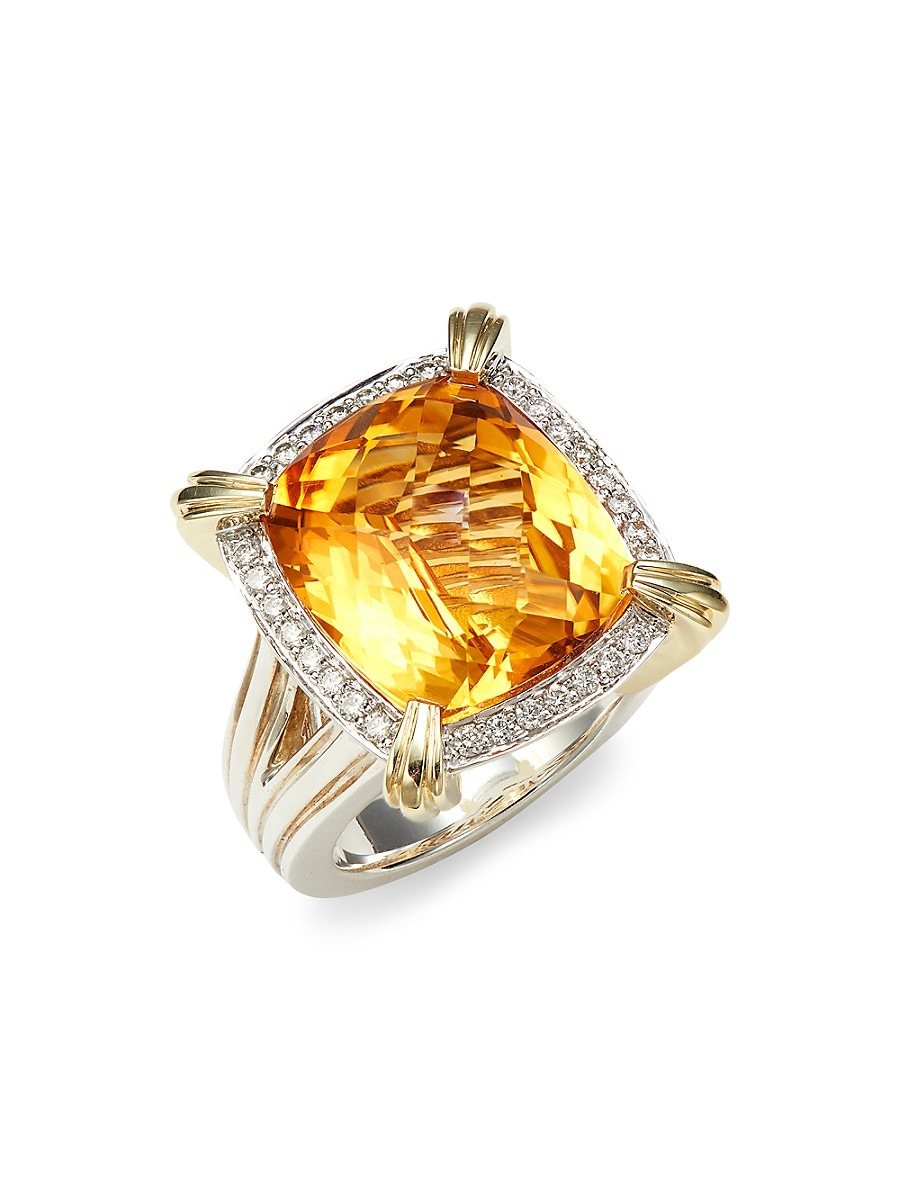Charles Krypell Women's 14K Yellow Gold & Sterling Silver Citrine & Diamond Statement Ring/Size 6.5 - Yellow - Size 6.5