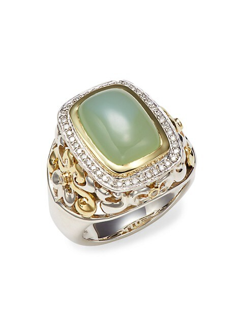 Charles Krypell Two-Tone Green Onyx & Diamond Statement Ring