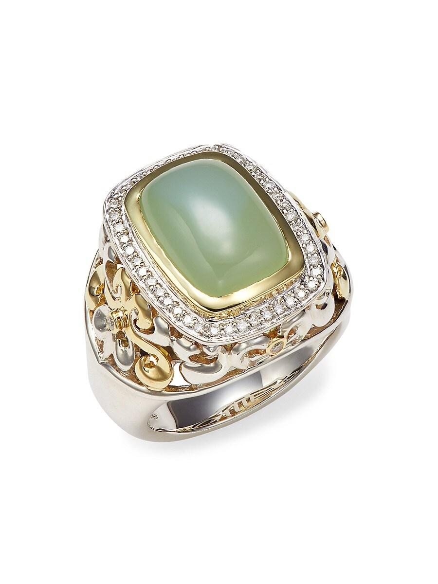 Women's Two-Tone Green Onyx & Diamond Statement Ring/Size 6.5