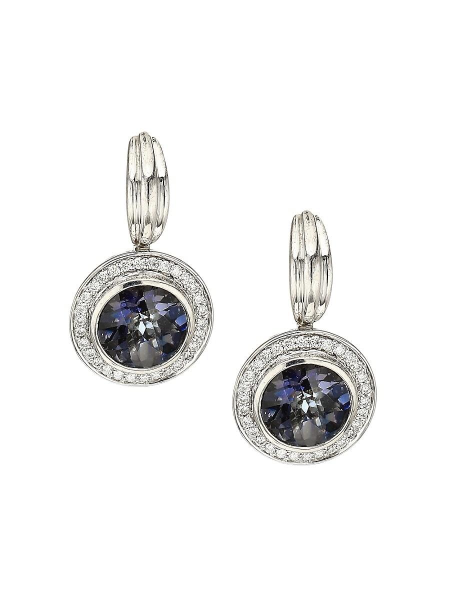 Charles Krypell Women's 14K White Gold, Mystic Quartz & 0.25 TCW Diamond Pavé Halo Disc Drop Earrings