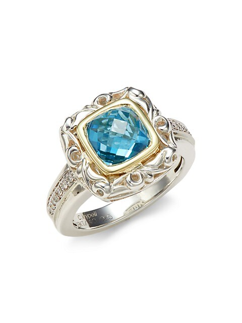 Charles Krypell Sterling Silver, Two-Tone Gold, Blue Topaz & Diamond Ring