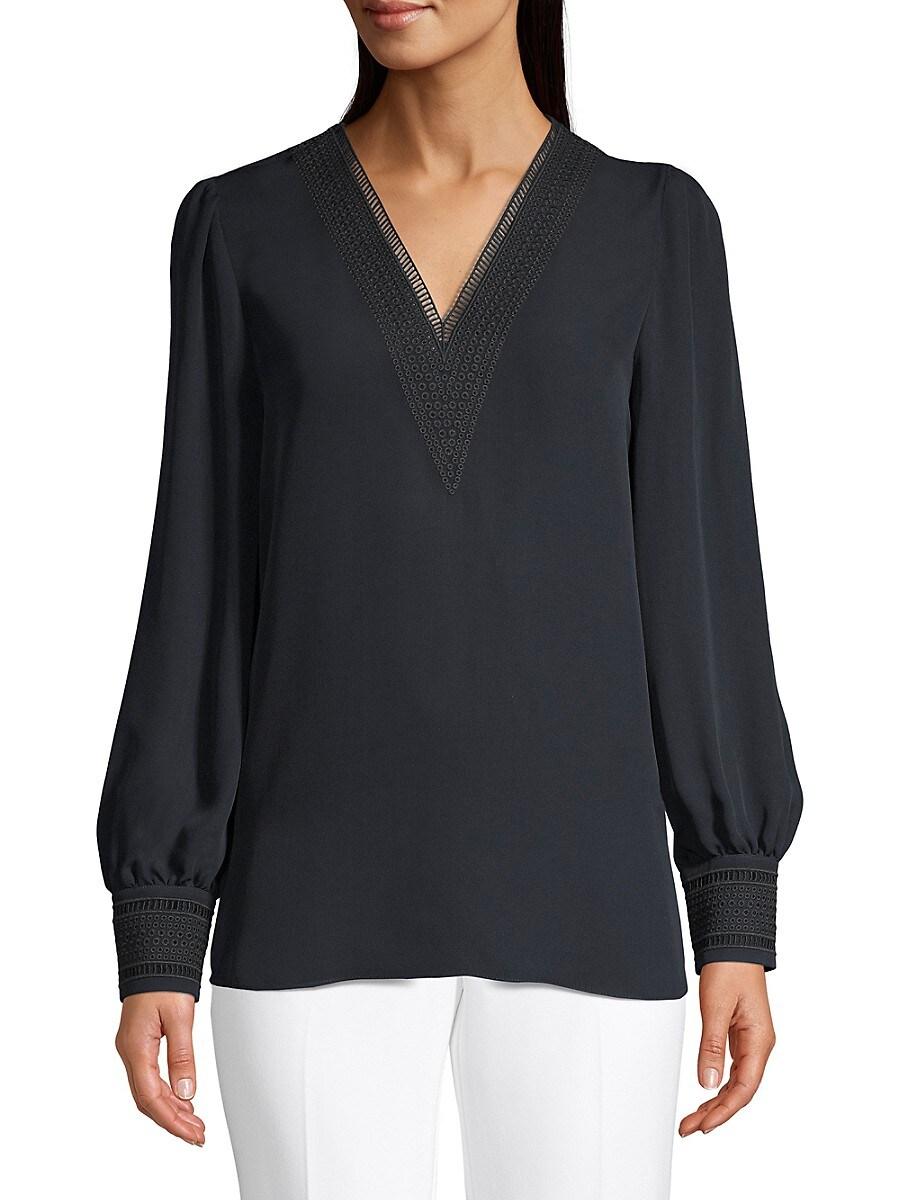 Women's Aura Lace Eyelet Silk Puff-Sleeve Shirt