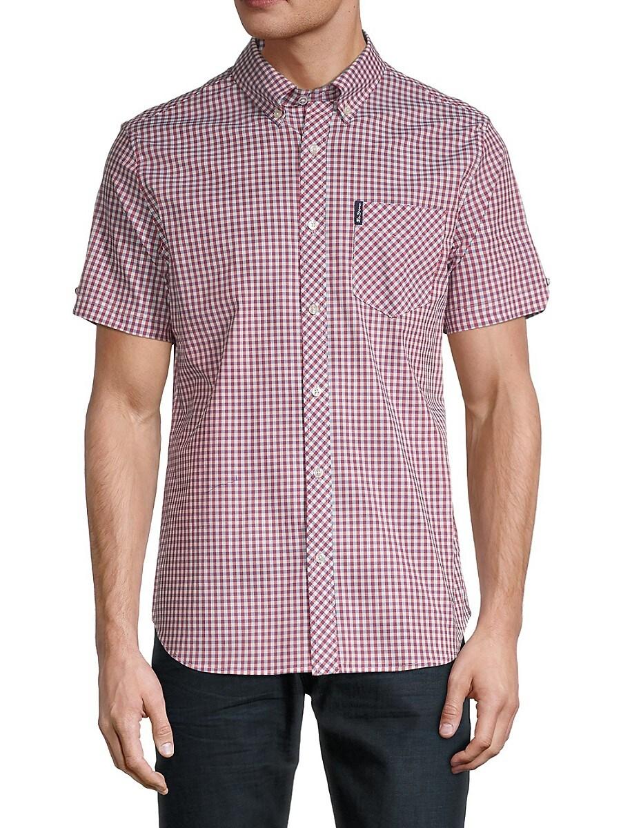 Men's Gingham-Print Short-Sleeve Shirt