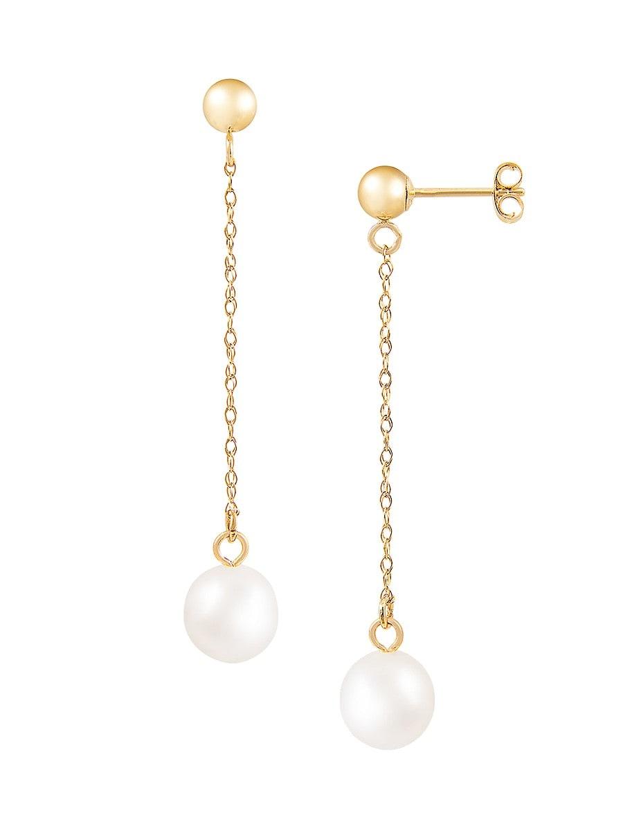 Women's 14K Yellow Gold & 7-7.5MM Akoya Pearl Drop Earrings