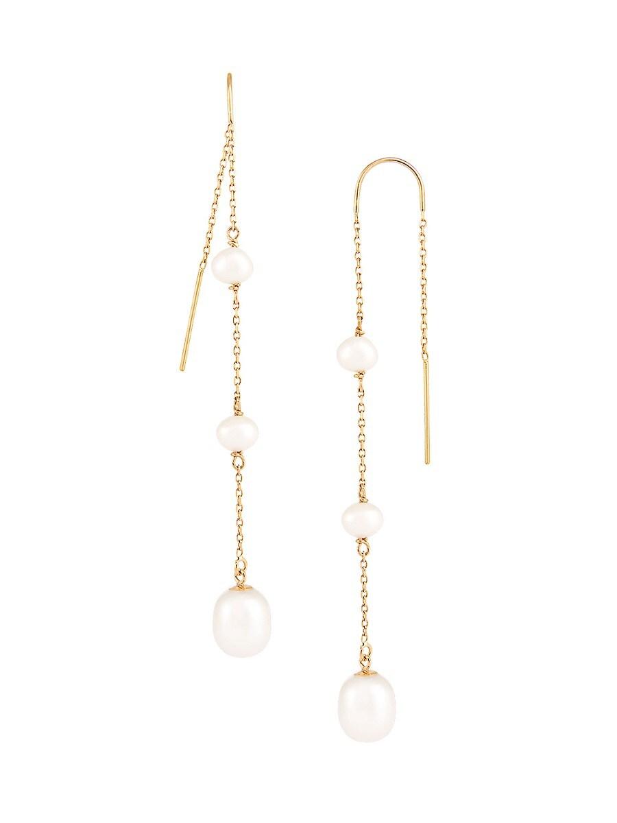 Women's 14K Yellow Gold & 5-7.5MM Round Freshwater Pearl Drop Earrings