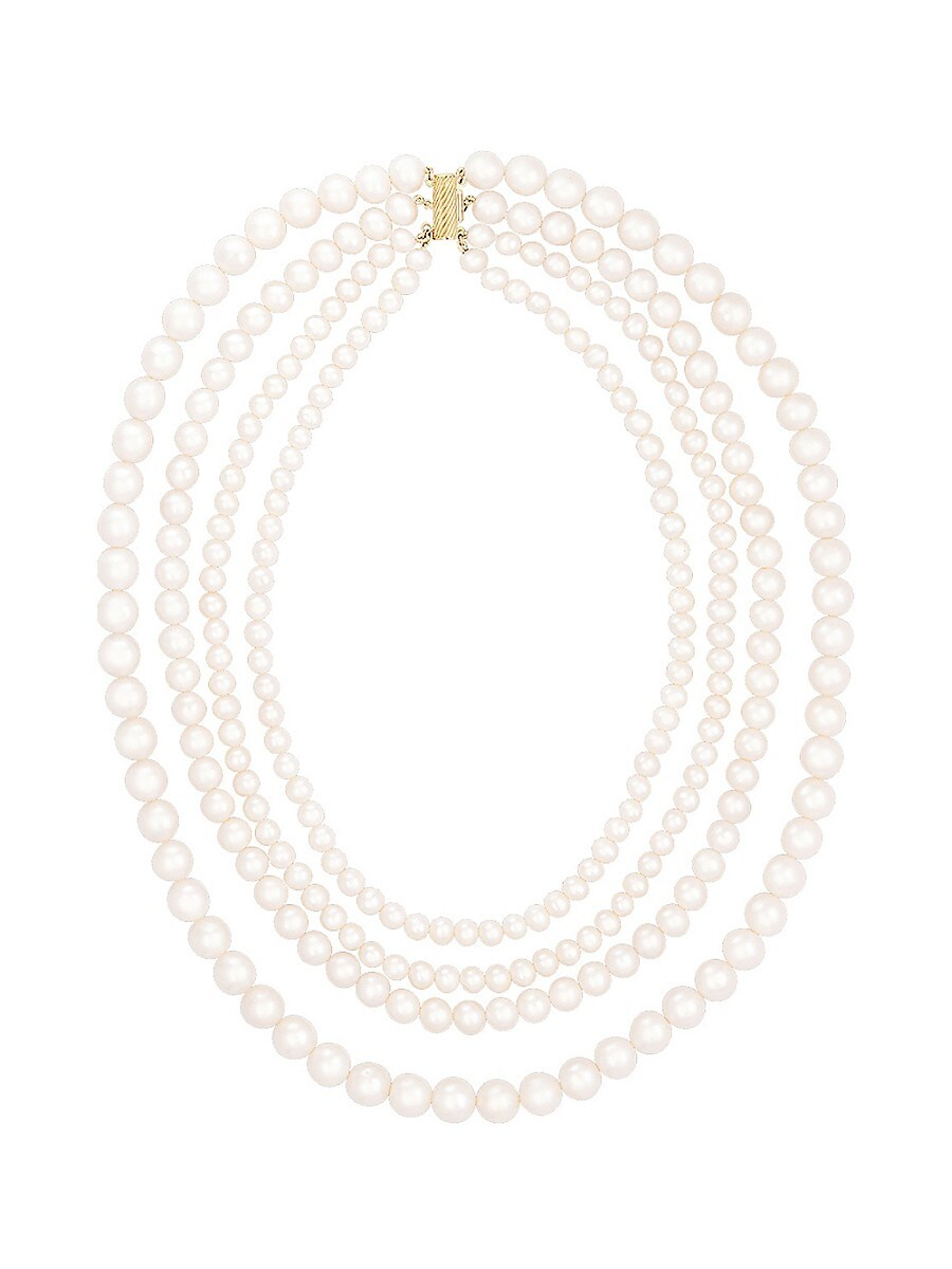 14K Yellow Gold & 5-9MM Freshwater Pearl Quad-Strand Necklace