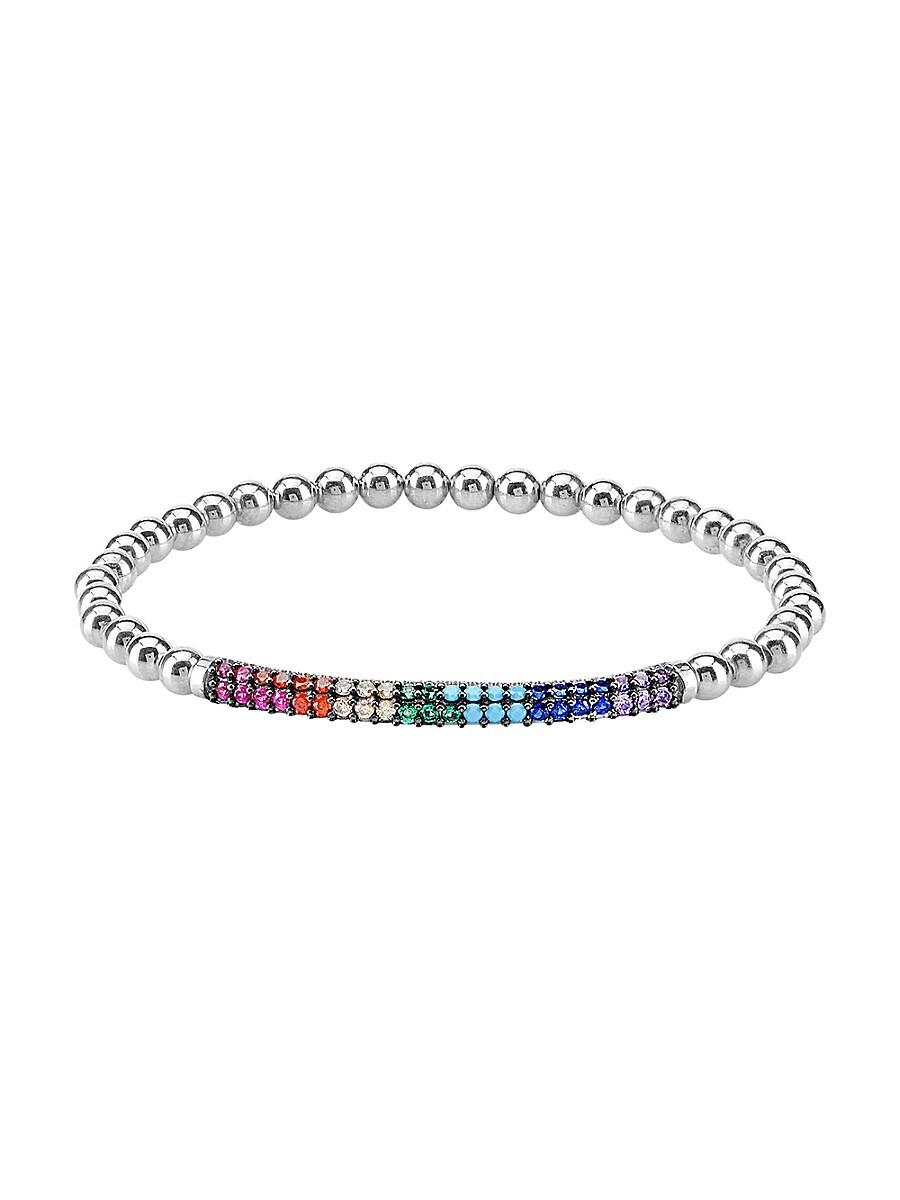 Women's Sterling Silver Multi-Color Cubic Zirconia Stretch Bracelet