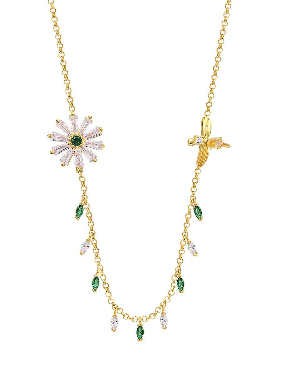 Women's 22K Gold Vermeil & Cubic Zirconia Daisy Bee Necklace
