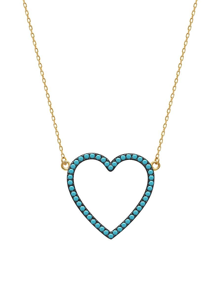 Women's 22K Gold Vermeil & Cubic Zirconia Heart Pendant Necklace