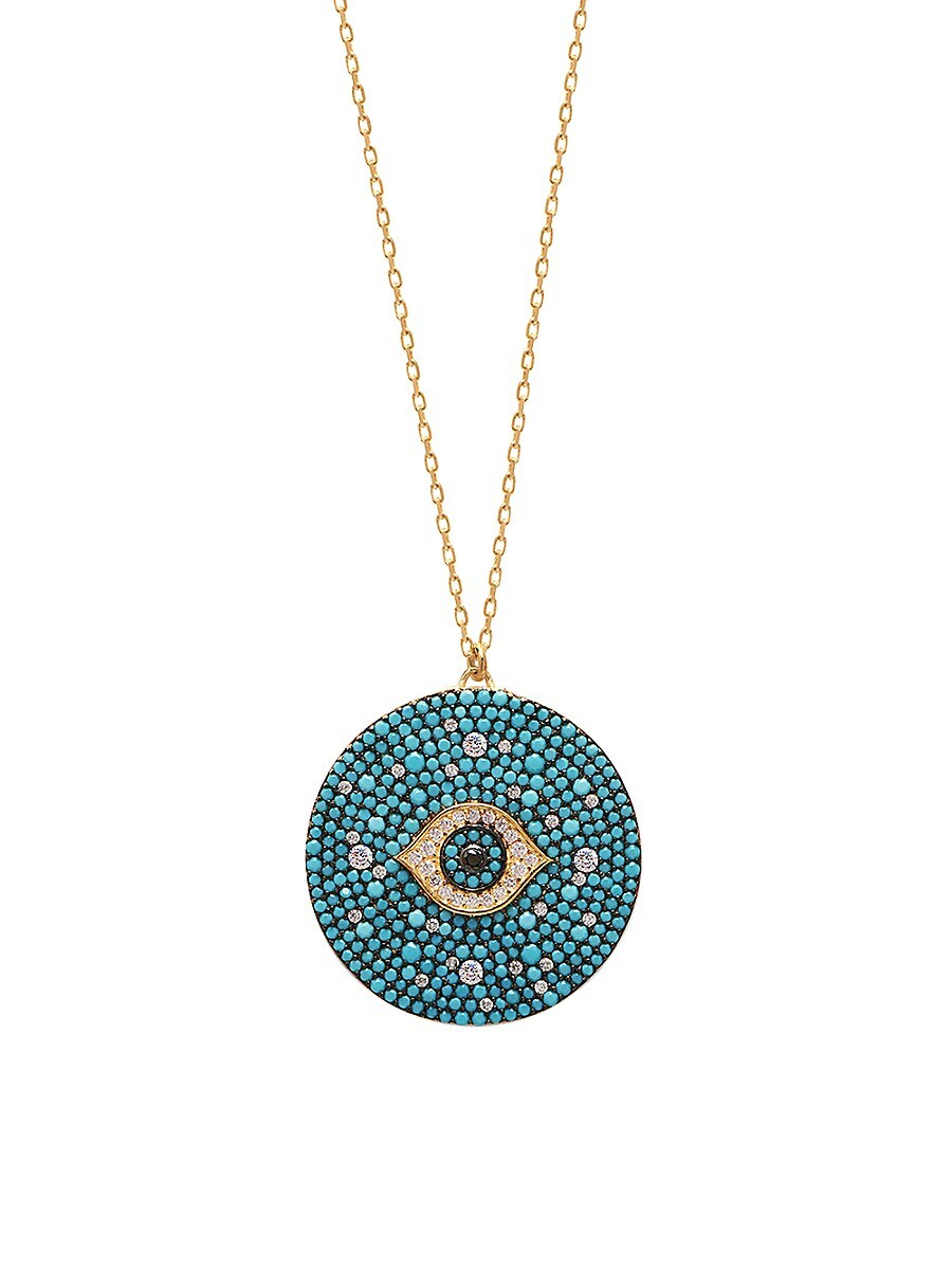 Women's 22K Goldplated Turquoise & Cubic Zirconia Evil Eye Pendant Necklace