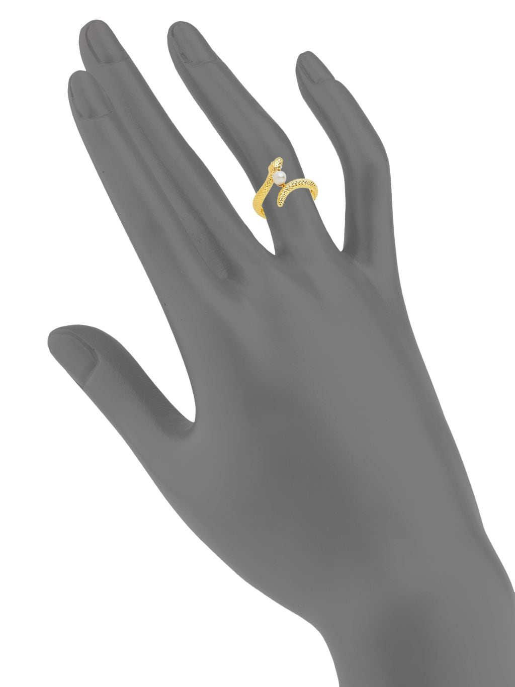 Sterling Forever 14K Yellow Goldplated & Faux Pearl Snake Ring