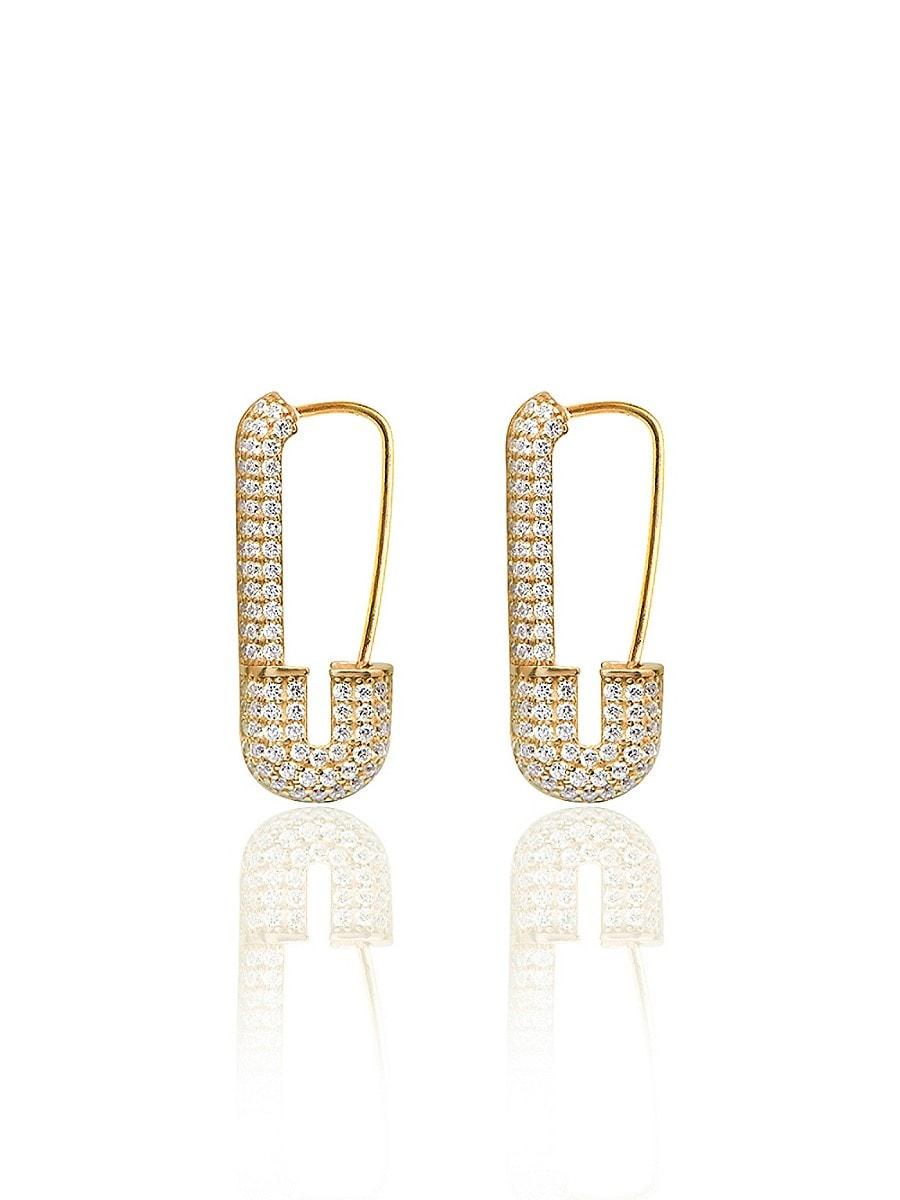 Women's 14K Gold Vermail & Cubic Zirconia Safety Pin Earrings