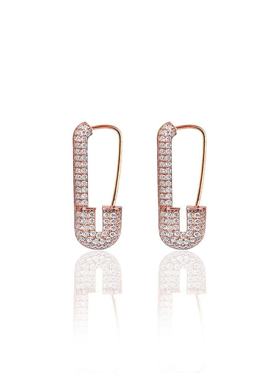 Women's 20K Rose Gold Vermeil & Cubic Zirconia Safety Pin Earrings