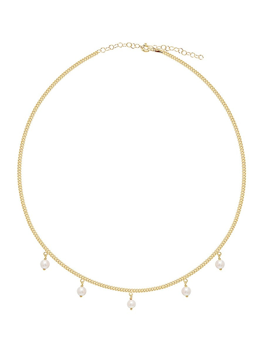 Women's Genuine Mother of Pearl Dainty Dangle Necklace