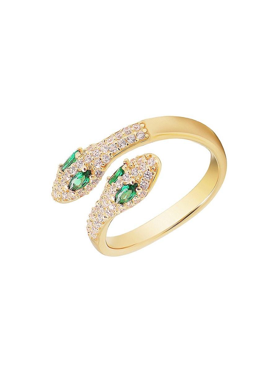 Women's 14K Gold Vermeil & Cubic Zirconia Pavé Adjustable Snake Ring/Size 7