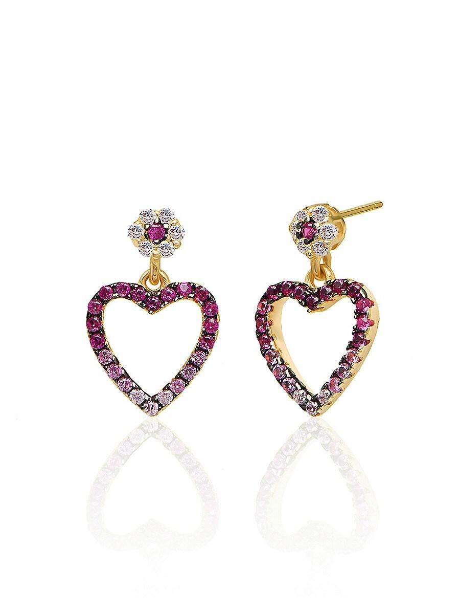 Women's 14K Gold Vermeil & Cubic Zirconia Cutout Mini Heart Earrings