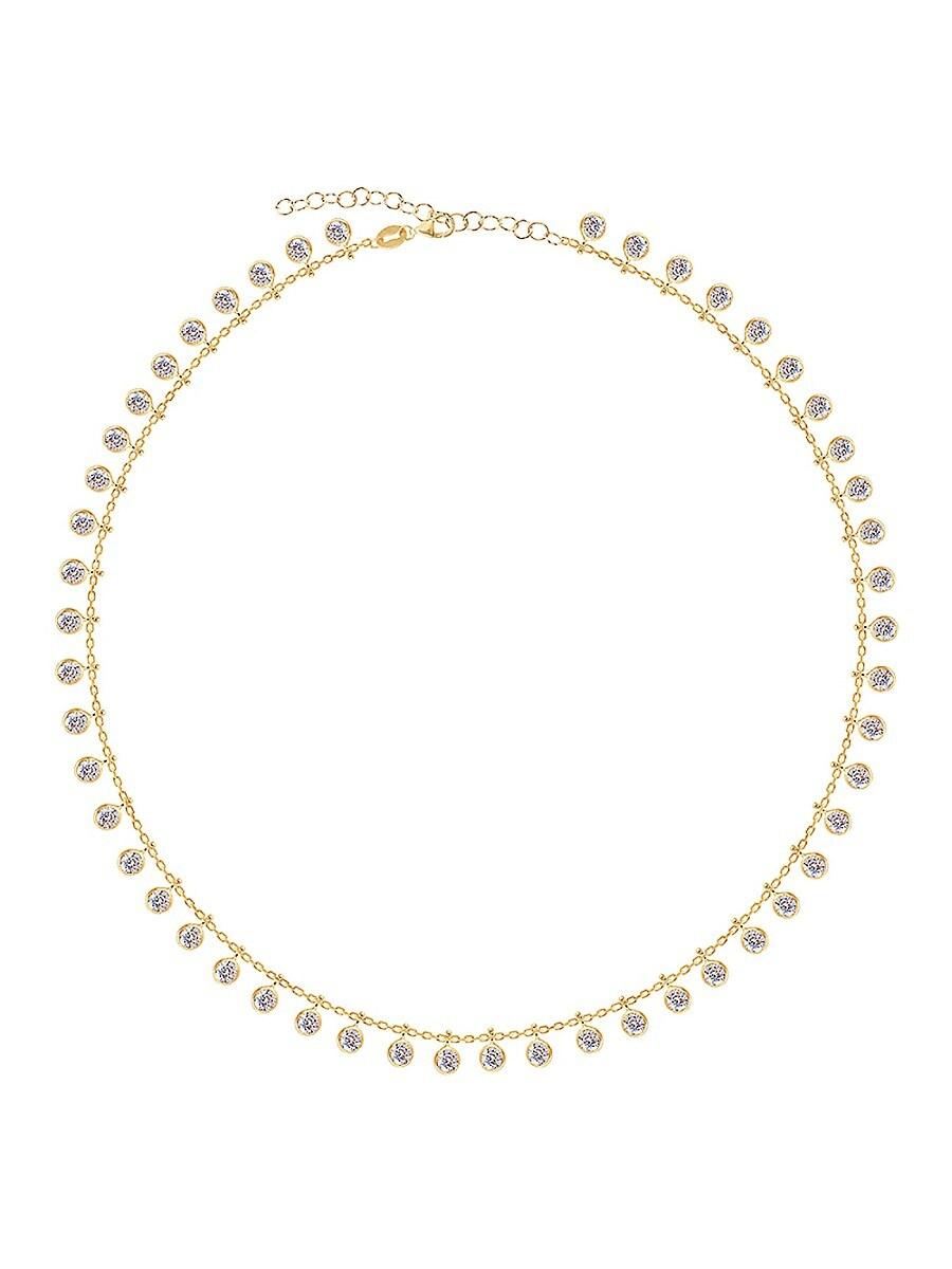 Women's 14K Gold Vermeil & Cubic Zirconia Loaded Bevel Drop Necklace