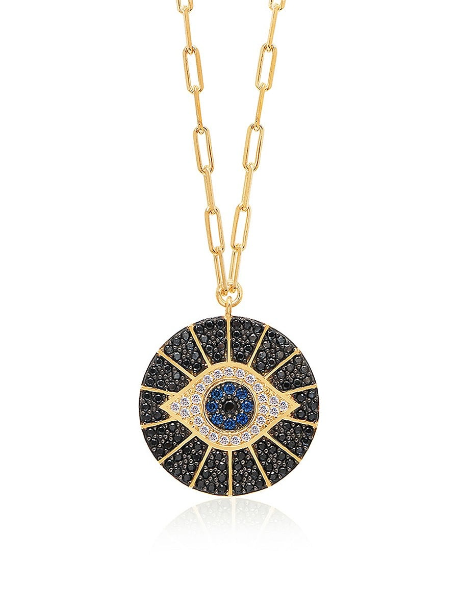 Women's 14K Gold Vermeil & Cubic Zirconia Evil Eye Necklace