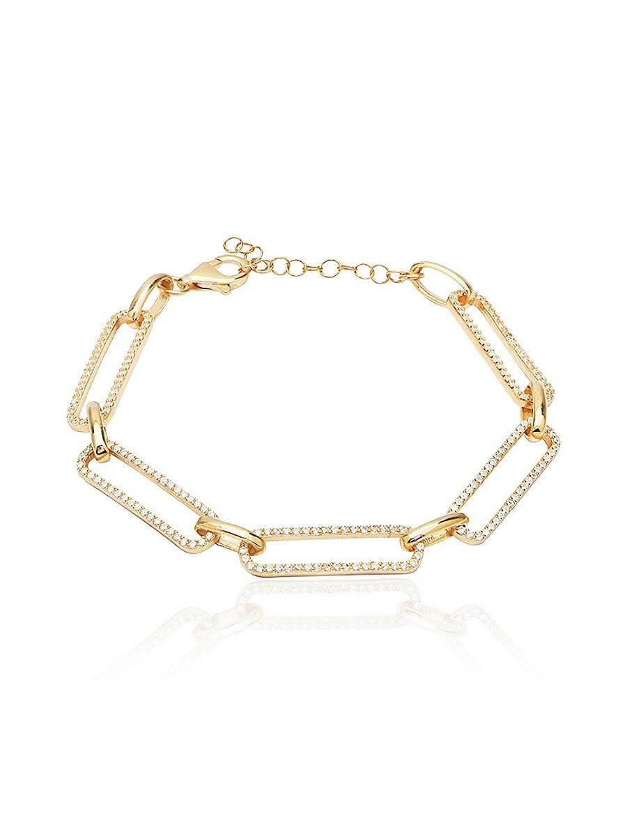 Women's 14K Gold Vermeil & Cubic Zirconia Pavé Link Bracelet