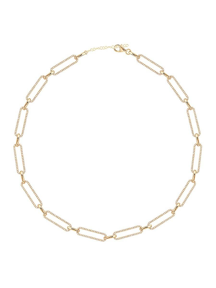 Women's 14K Gold Vermeil & Cubic Zirconia Pavé Link Gold Necklace