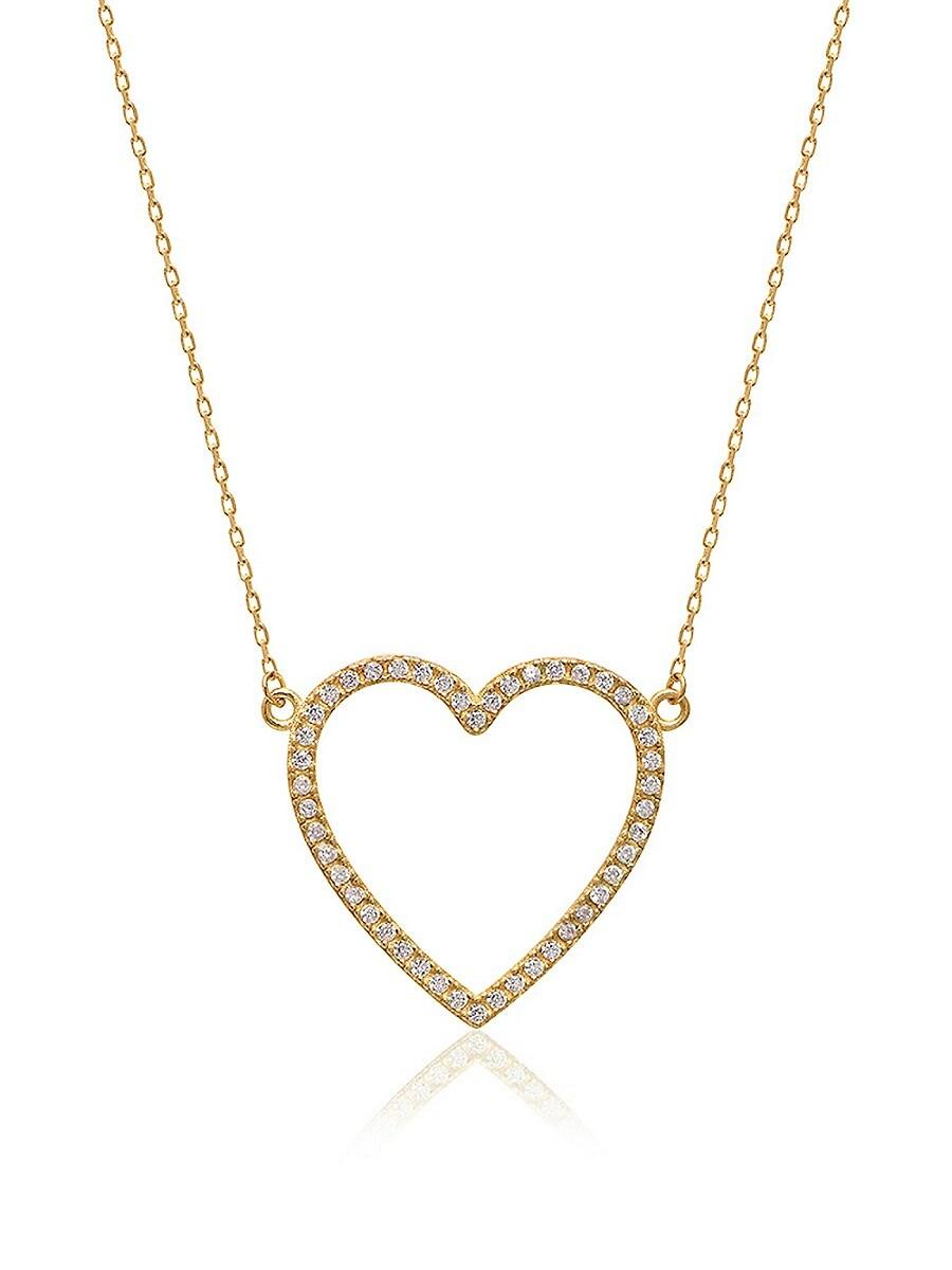 Women's 14K Gold Vermeil & Cubic Zirconia Pavé Open Heart Pendant Necklace