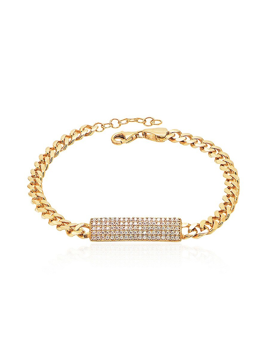 Women's 14K Gold Vermeil & Cubic Zirconia Pavé ID Bracelet