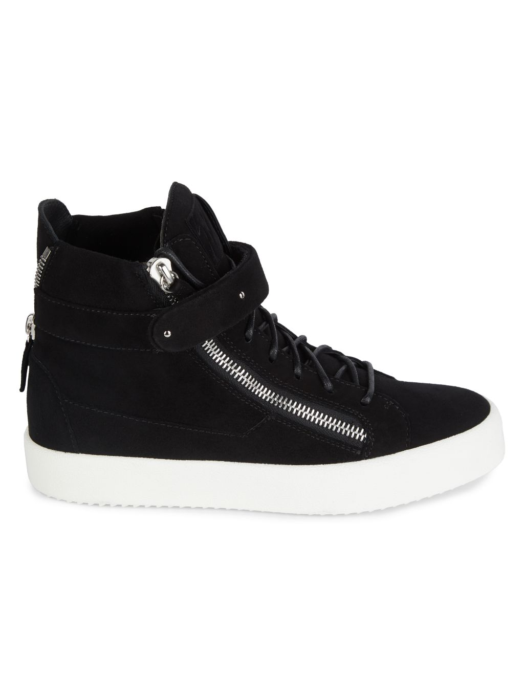 Giuseppe Zanotti High-Top Zip & Strap Leather Sneakers