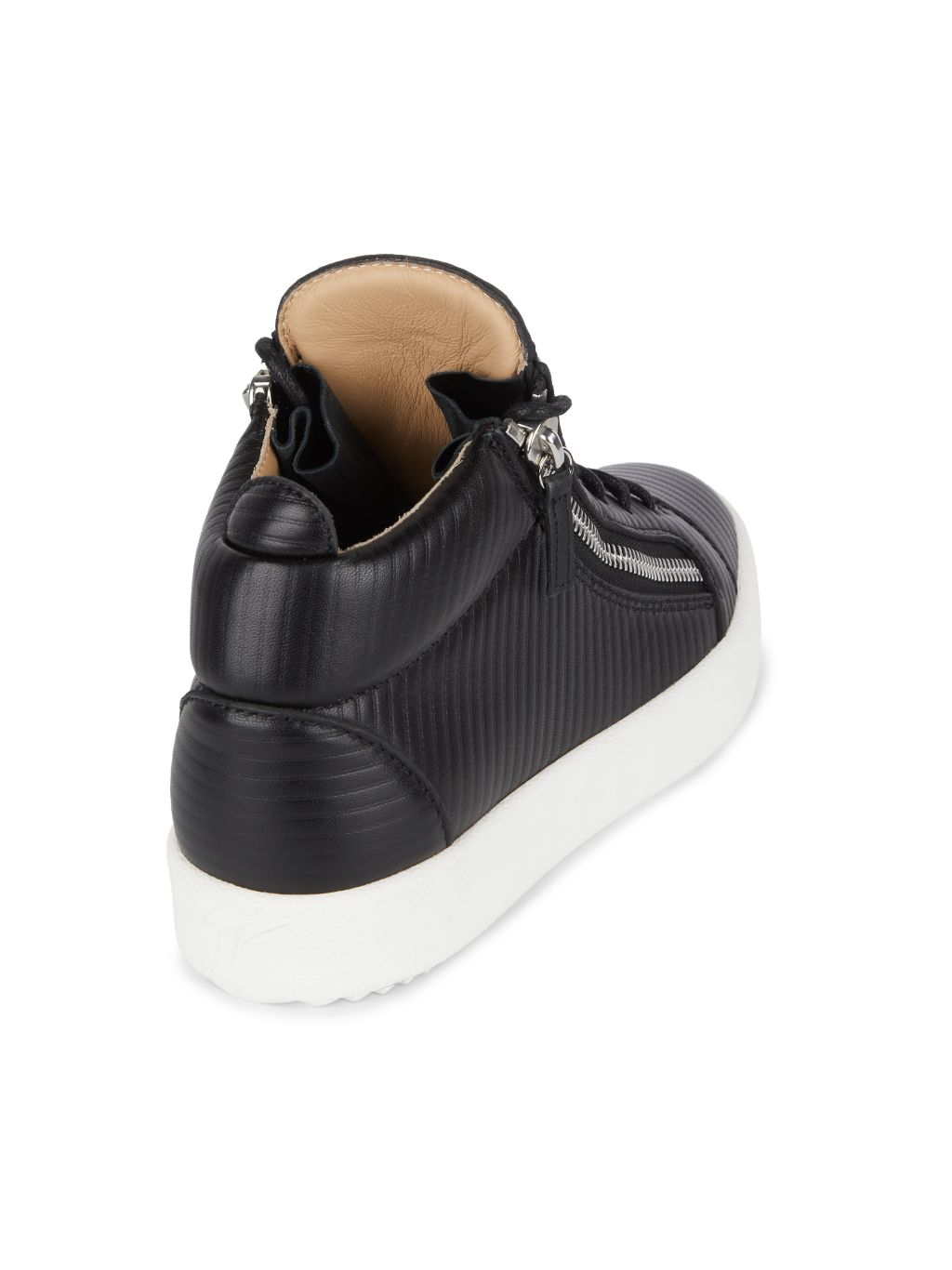 Giuseppe Zanotti Ribbed Double Zip Leather Sneakers