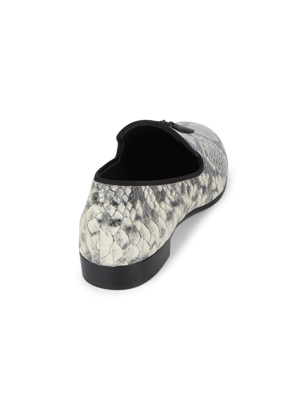 Giuseppe Zanotti Python-Print Embossed Leather Loafers