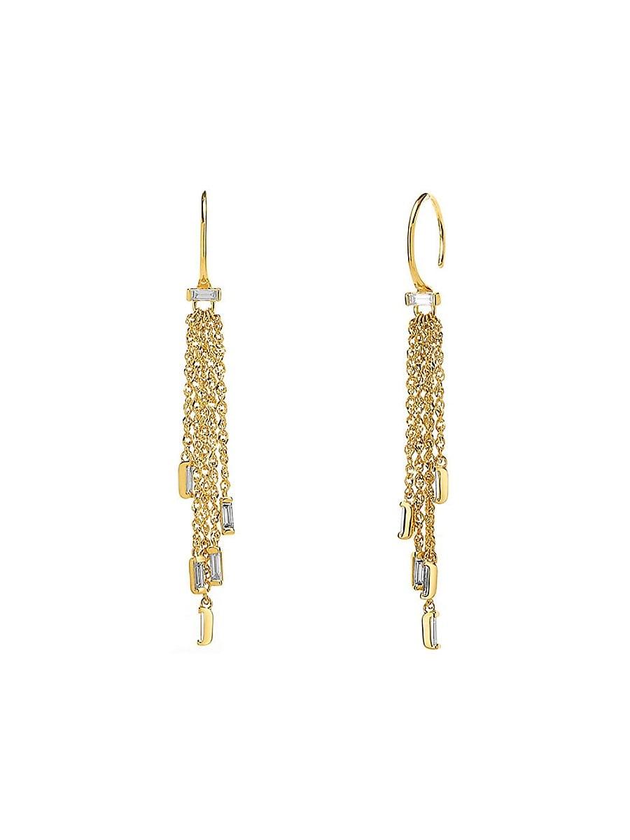 Adriana Orsini 14k Women's Goldtone & Diamond Fringe Drop Earrings