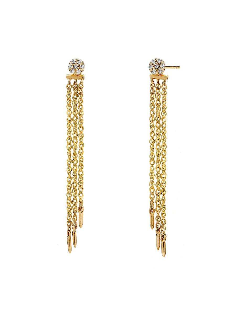 Women's Eclipse 14K Gold & Diamond Linear Chain Earrings