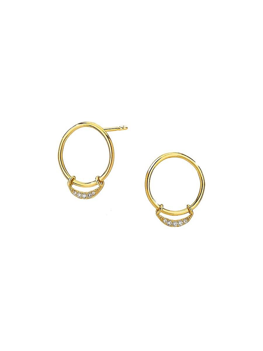 Women's Goldtone & Diamond Crescent Hoop Earrings