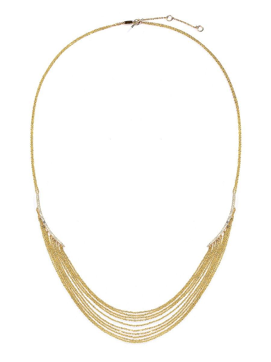 Adriana Orsini 14k Women's Eclipse 14K Gold, Diamond & White Sapphire Statement Chain Necklace