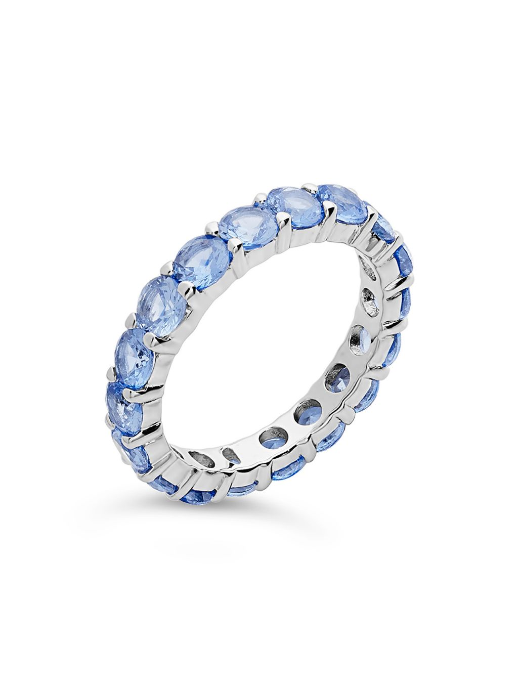 Sterling Forever Sterling Silver & Aquamarine-Color Cubic Zirconia Eternity Ring