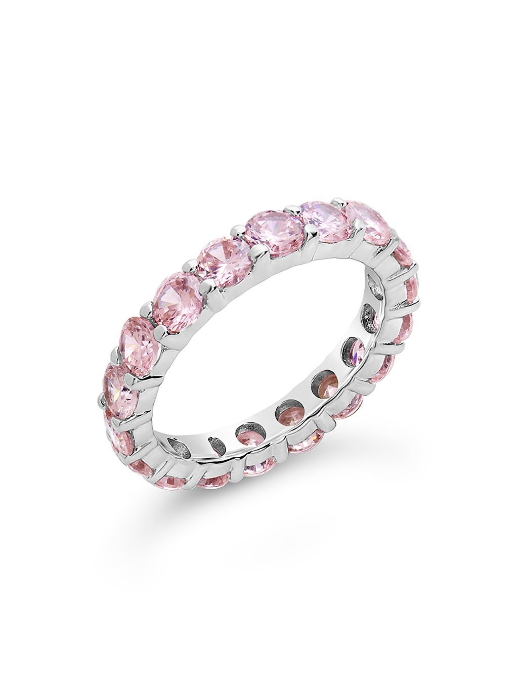 Sterling Forever Sterling Silver & Light Pink Cubic Zirconia Eternity Ring