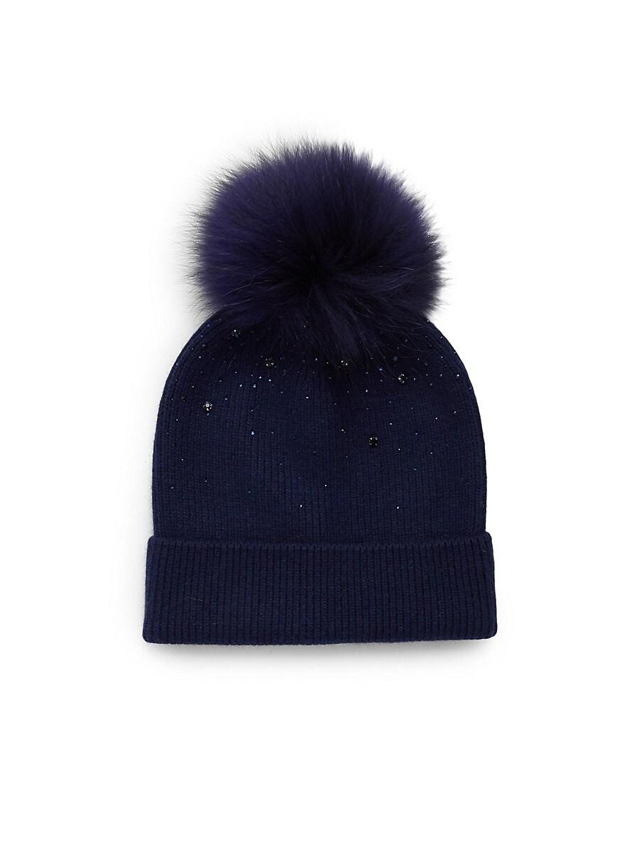 Fox Fur Pom-Pom Embellished Wool & Cashmere Beanie