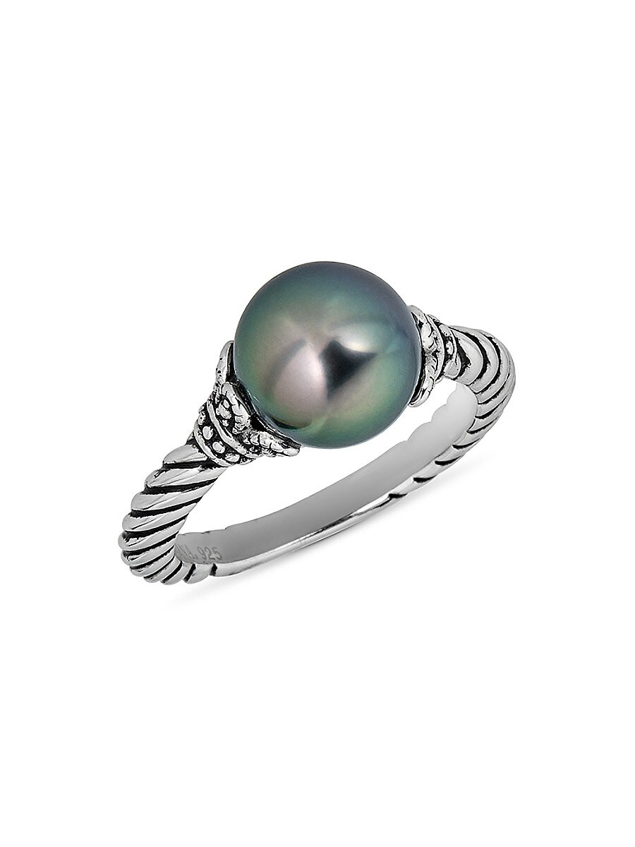 Women's Oceana 925 Sterling Silver & 9MM Tahitian Pearl Ring/Size 7