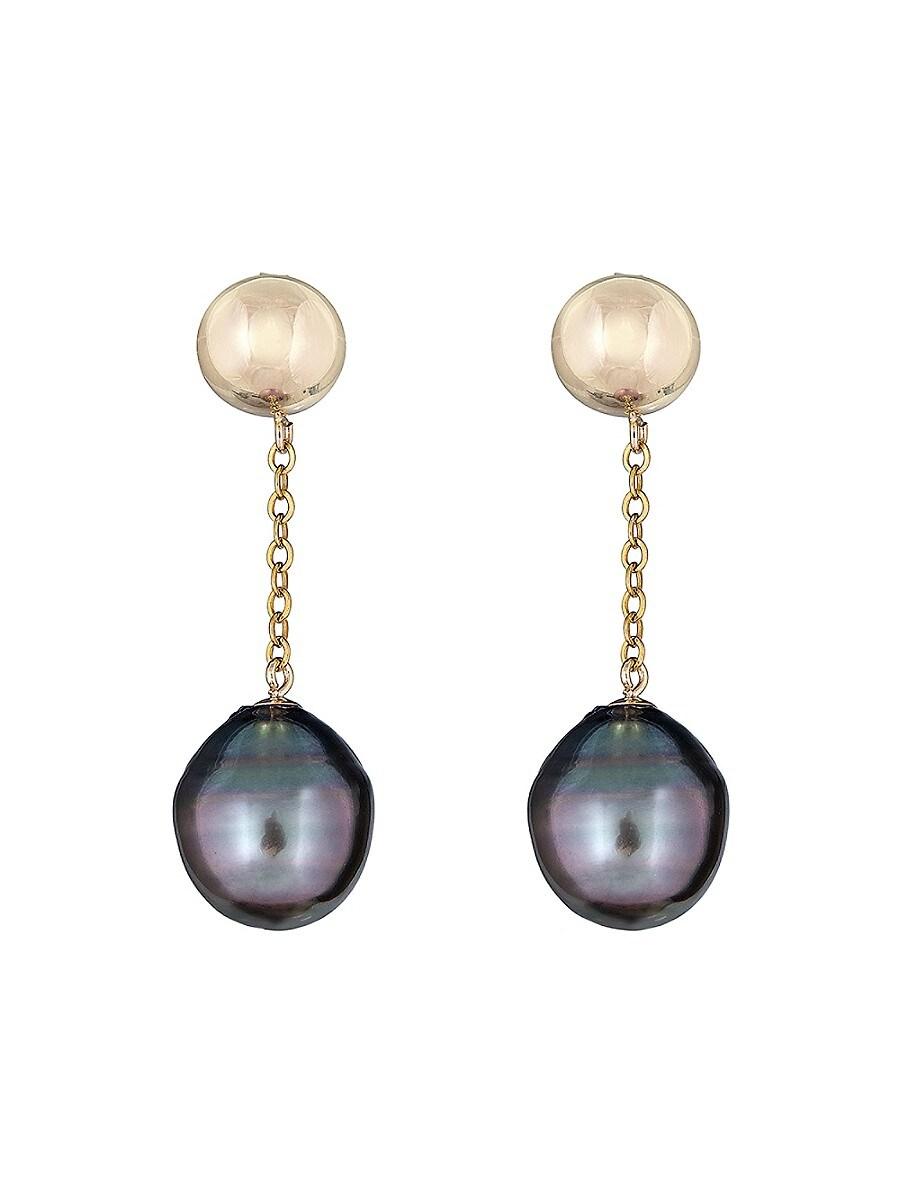 Women's 14K Yellow Gold & 11MM Tahitian Pearl Drop Earrings