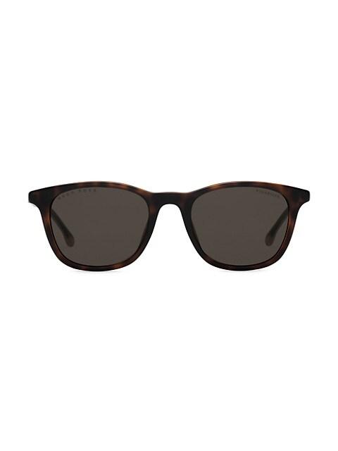 Hugo Boss Polarized Matte Black Slim Square Men's Sunglasses