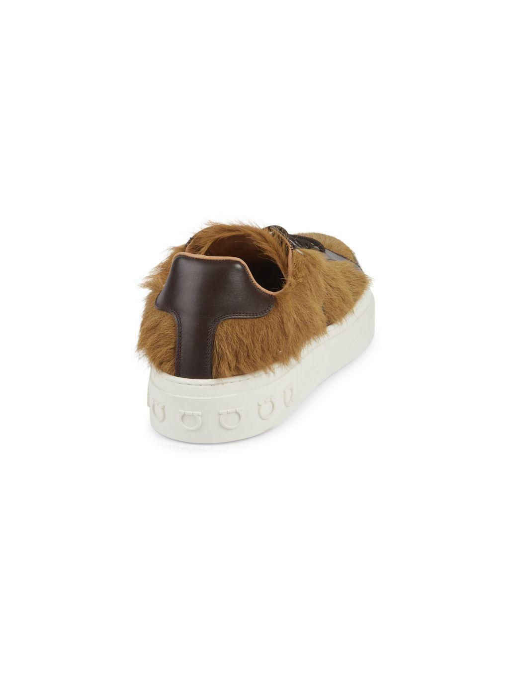 Salvatore Ferragamo Calf Hair & Leather Sneakers