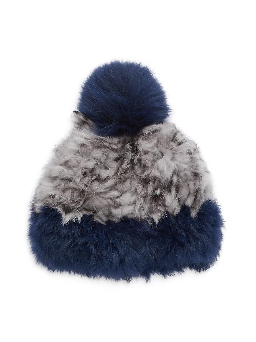 Women's Pom-Pom Rabbit Fur Beanie