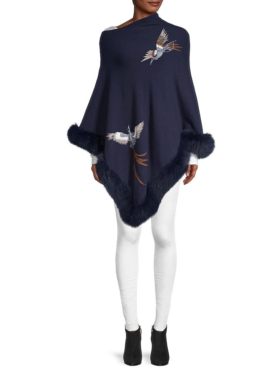 Women's Fox Fur-Trim Poncho