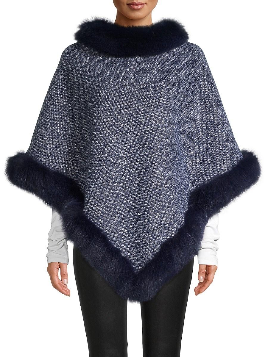 Women's Tweed Fox Fur-Trimmed Poncho