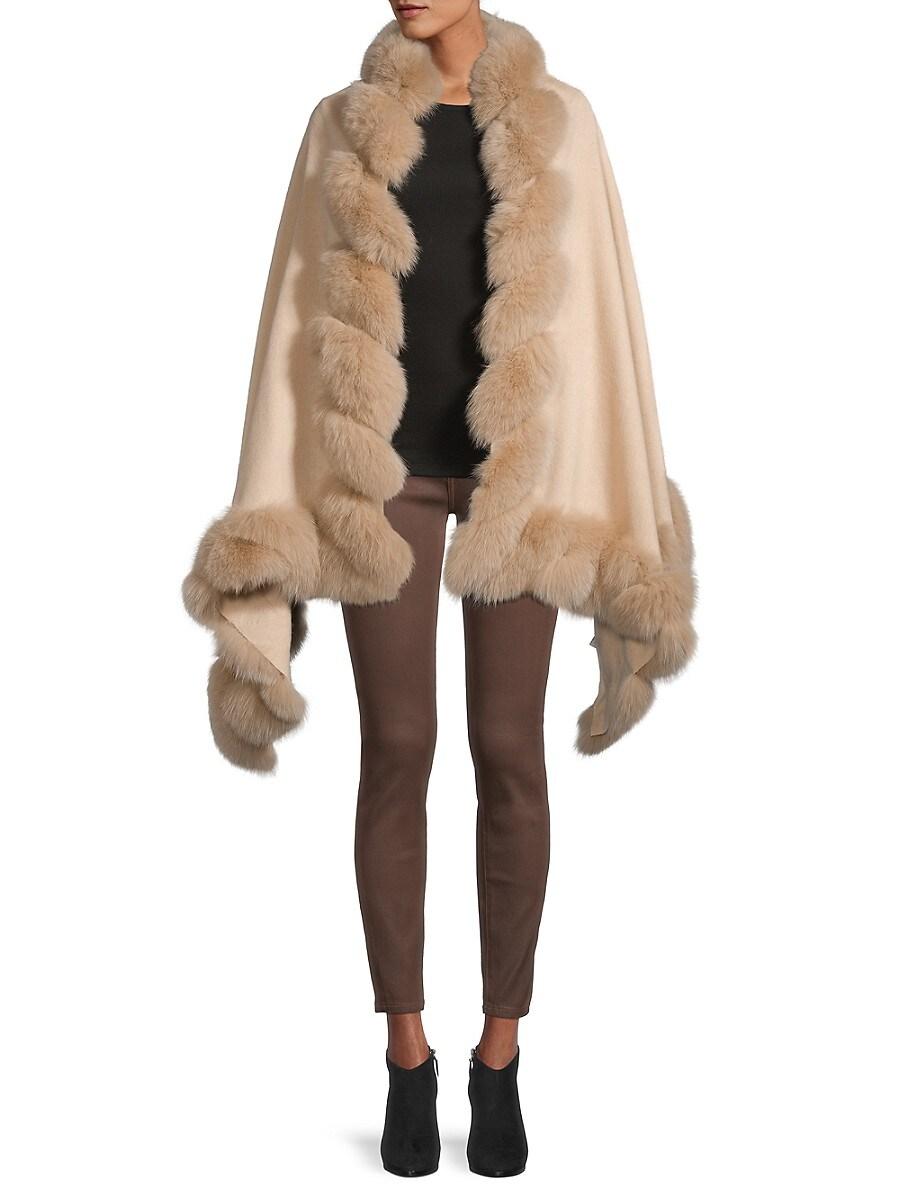 Women's Fox Fur-Trim Wool Wrap