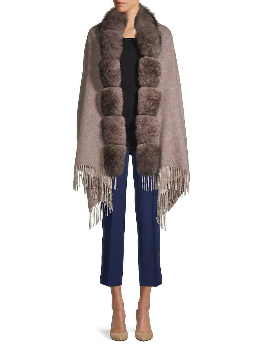 Women's Reversible Wool & Fox Fur Wrap