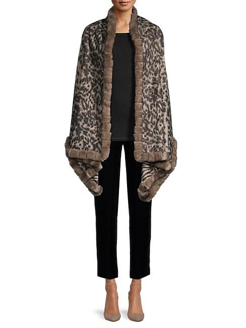 La Fiorentina Reversible Wool & Rabbit Fur Wrap In Camel